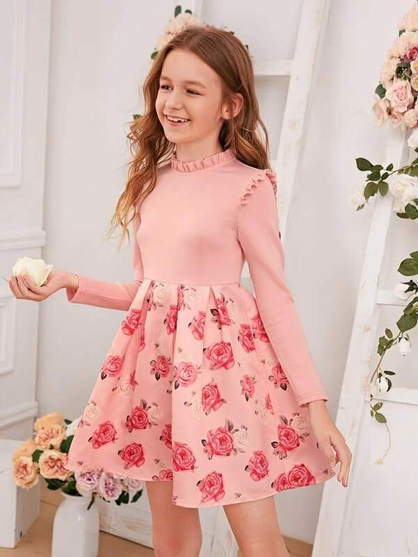 Girls Floral Print Frill Trim Box Pleated Hem Dress