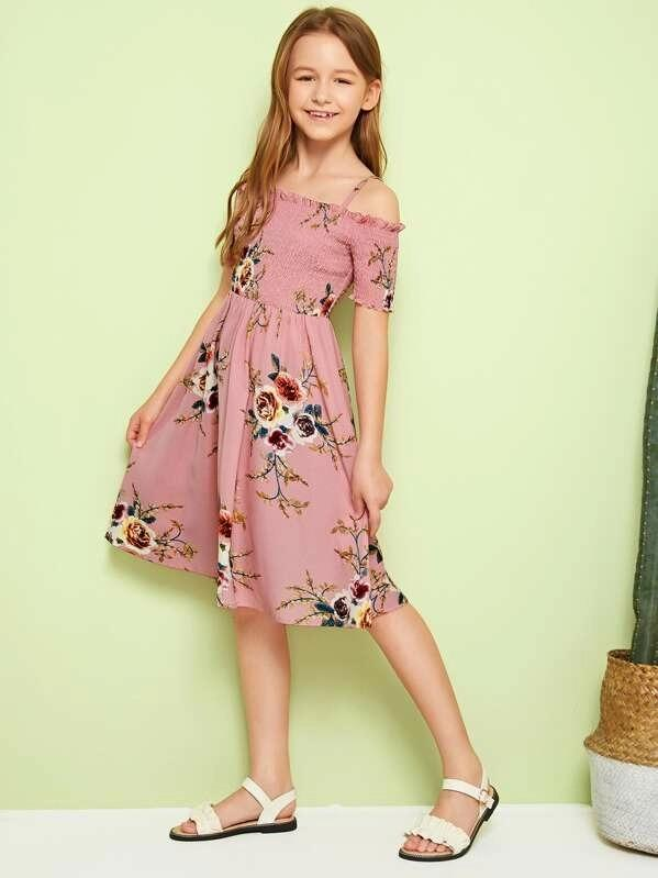 Girls Floral Print Frilled Trim Shirred Dress