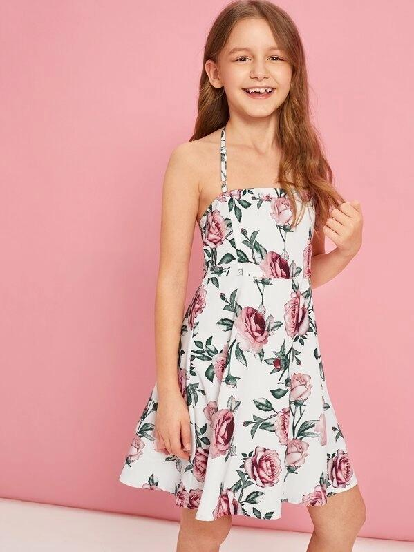 Girls Floral Print Halter Skater Dress