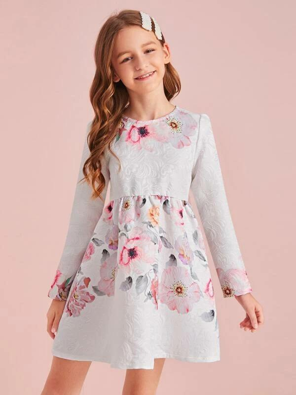 Girls Floral Print Jacquard Dress