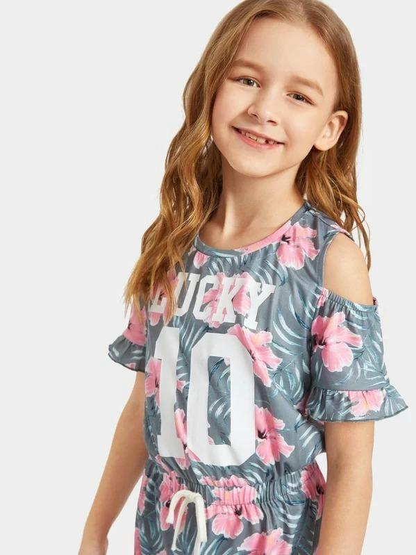 Girls Floral Print Open Shoulder Drawstring Ruffle Dress