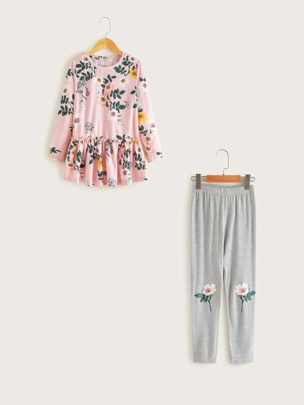 Girls Floral Print Peplum Top & Leggings Set