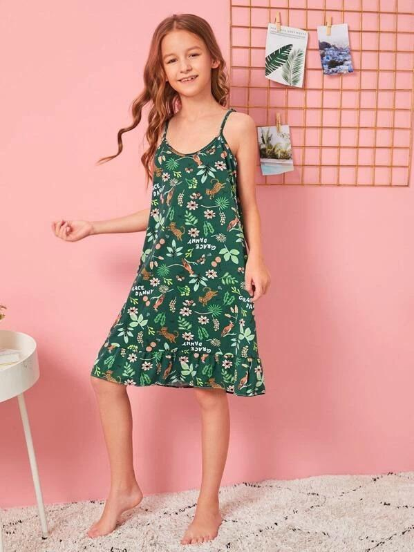 Girls Floral Print Ruffle Cami Dress With Eye Mask