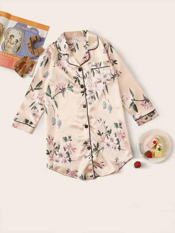 Girls Floral Print Satin Sleepshirt