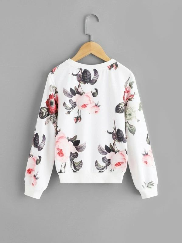 Girls Floral Print Sweatshirt
