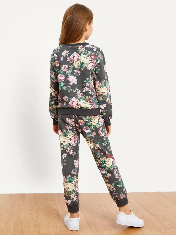 Girls Floral Print Top & Pants Set