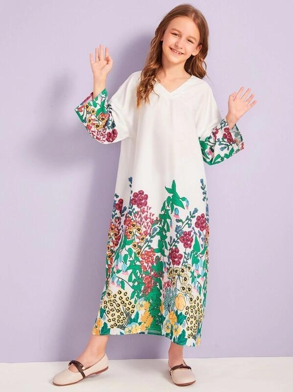 Girls Floral Print Tunic Dress