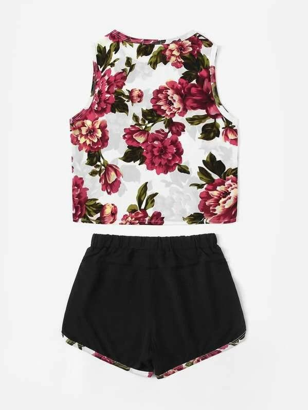 Girls Floral Tank Top And Ringer Shorts Set