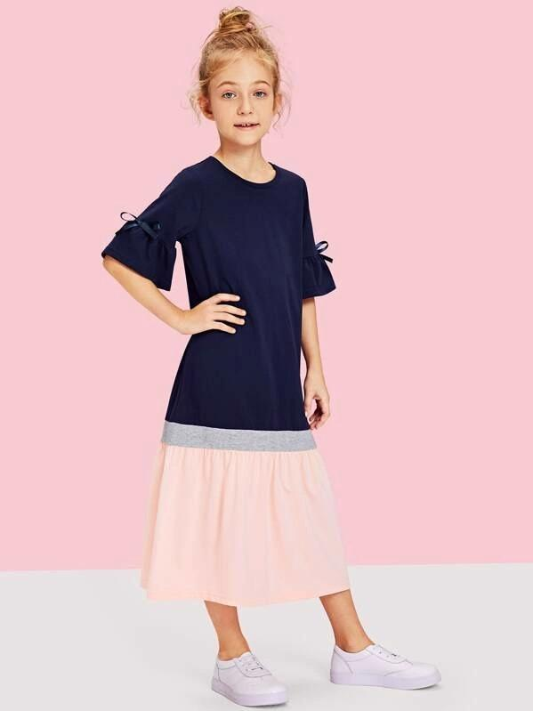 Girls Flounce Sleeve Cut And Sew Dress