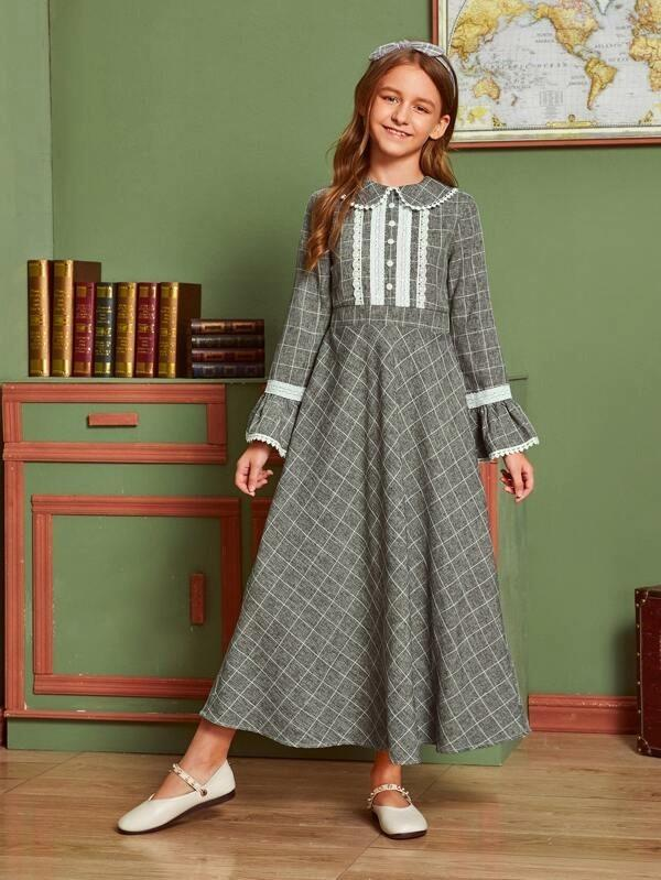 Girls Flounce Sleeve Lace Trim Plaid Dress