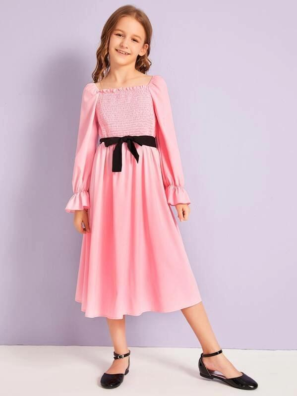 Girls Flounce Sleeve Shirred Dress With Belt