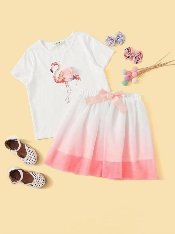 Girls Flower Applique Flamingo Print Top & Knot Waist Ombre Shorts Set