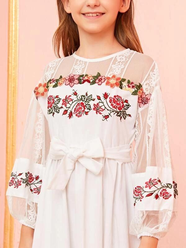 Girls Flower Embroidered Lace Sheer Dress