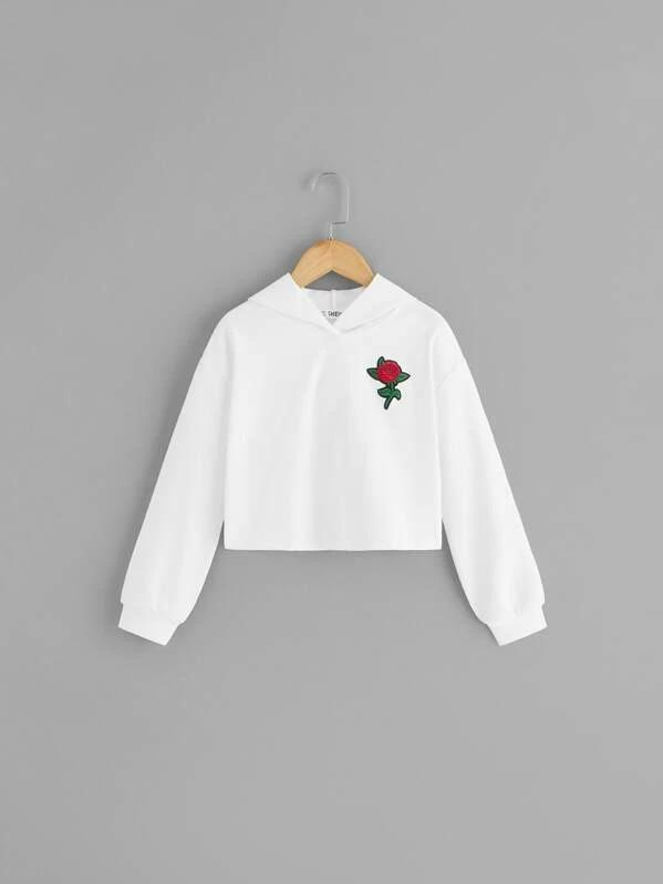 Girls Flower Embroidery Patched Hoodie