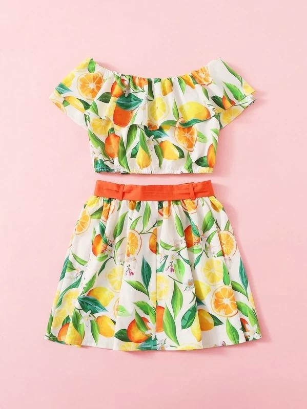Girls Foldover Front Bardot Top And Skirt Set