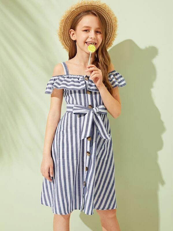 Girls Foldover Front Pocket Front Dress With Strap