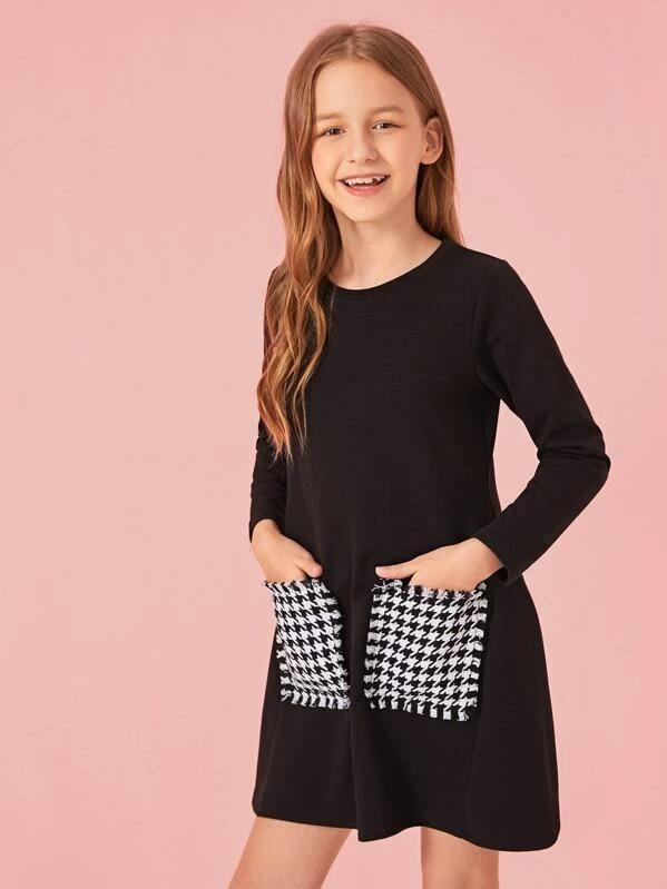 Girls Frayed Trim Plaid Pocket Patched Dress