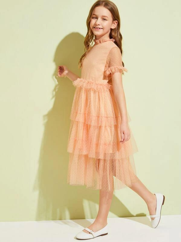 Girls Frill Neck Tiered Layer Swiss Dot Mesh Dress