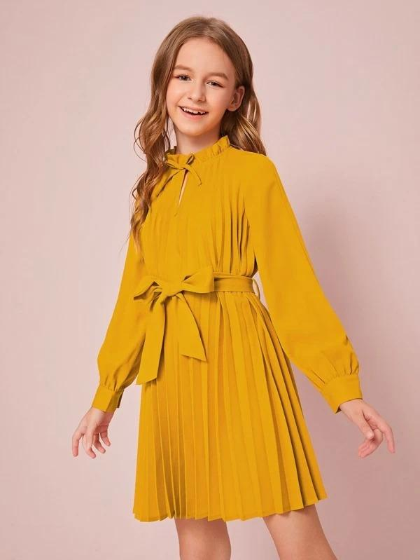 Girls Frill Tie Neck Pleated Belted Dress