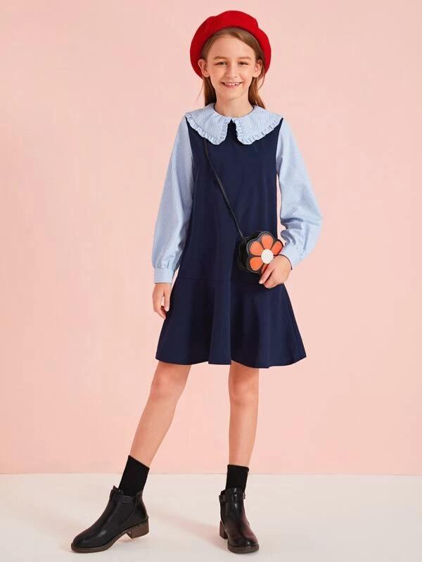 Girls Frill Trim Striped Colorblock Dress