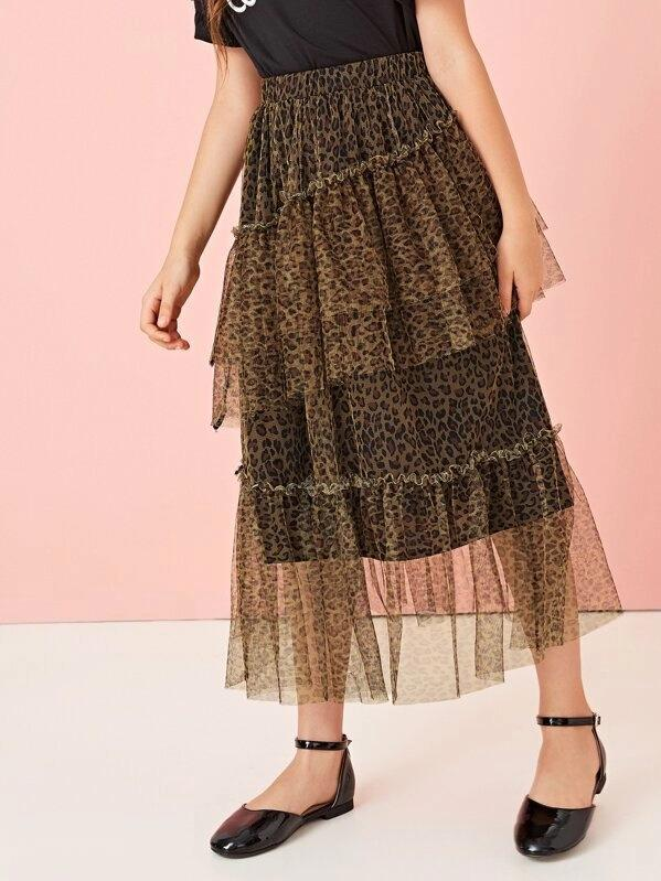 Girls Frill Trim Tiered Layered Leopard Mesh Overlay Skirt