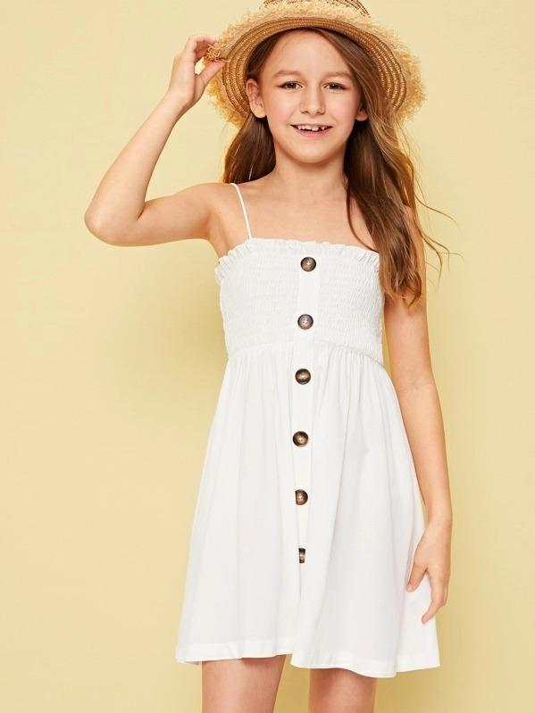 Girls Frilled Trim Buttoned Smock Cami Dress