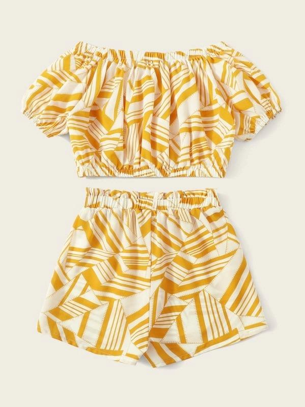 Girls Geo Print Bardot Top And Shorts Set