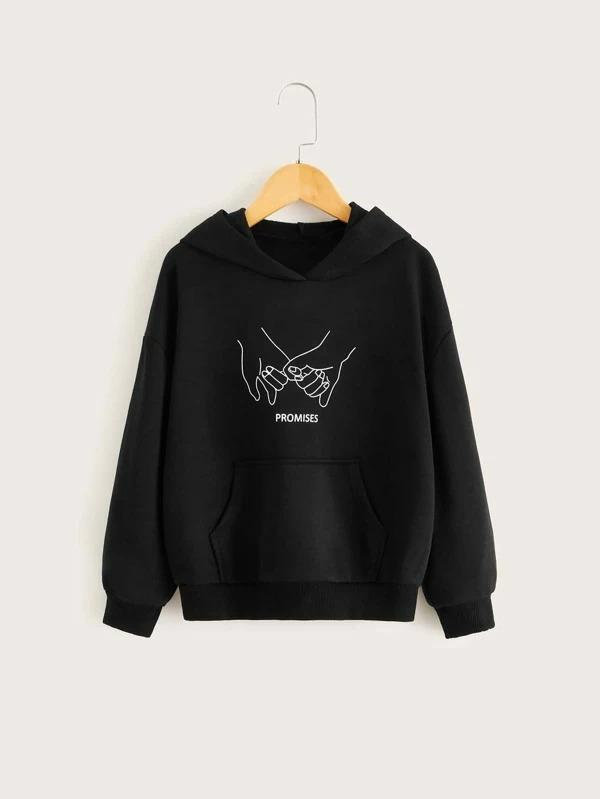 Girls Gesture And Letter Graphic Pocket Front Hoodie