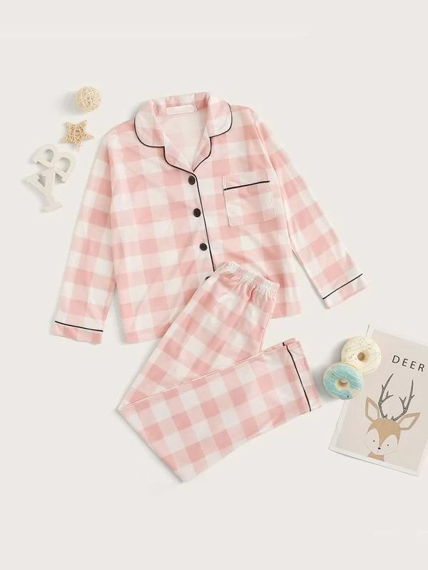 Girls Gingham Button-Up PJ Set