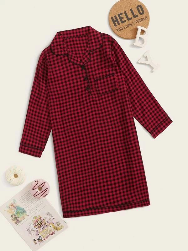 Girls Gingham Button Front Night Dress