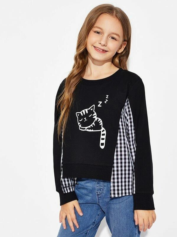 Girls Gingham & Cat Print Tee