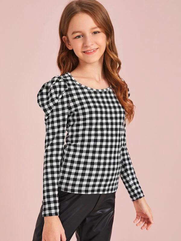 Girls Gingham Print Leg-Of-Mutton Sleeve Top