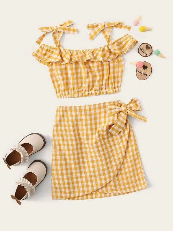 Girls Gingham Ruffle Trim Knotted Top And Wrap Skirt Set