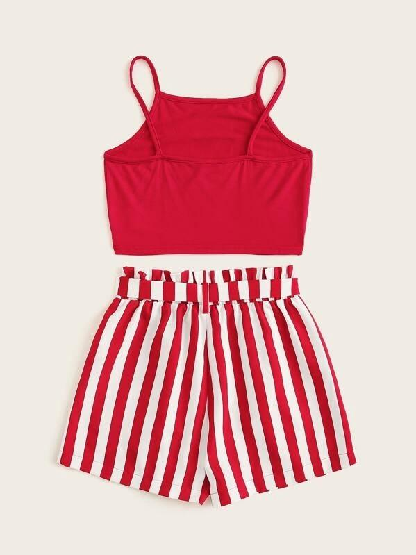 Girls Graphic Cami Top And Paperbag Waist Shorts Set