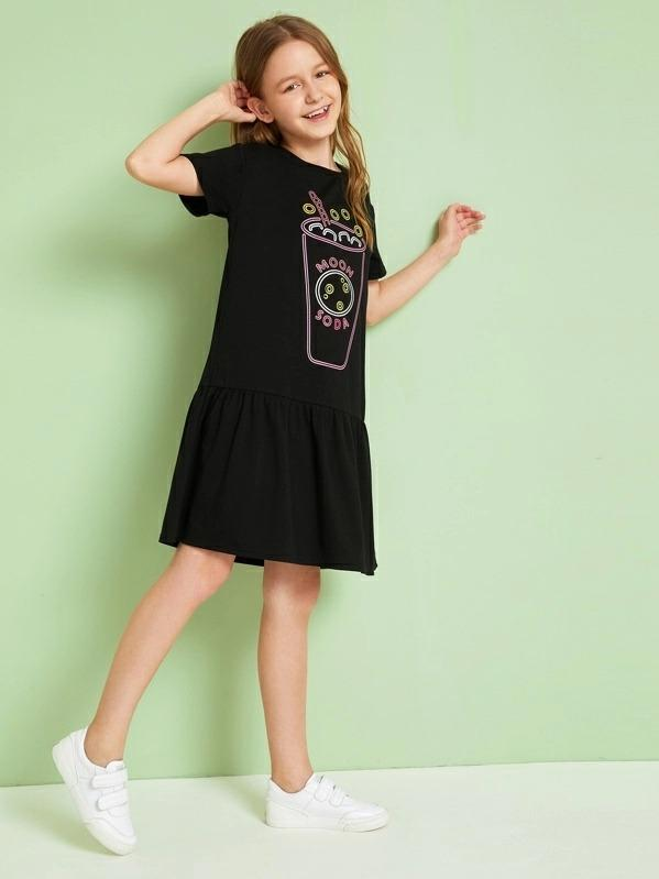Girls Graphic Print Flounce Hem Tee Dress
