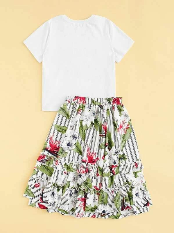 Girls Graphic Print Top & Striped Tropical Ruffle Detail Skirt Set