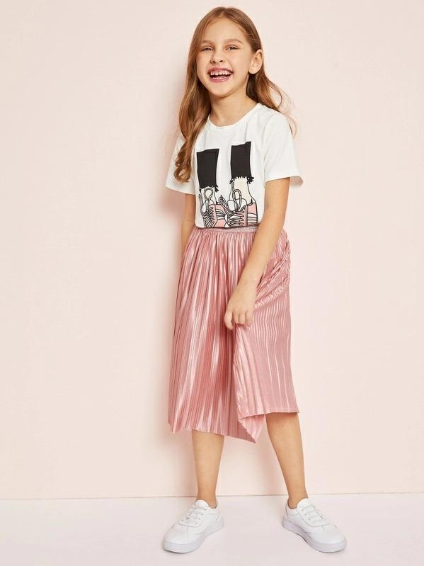 Girls Graphic Tee & Pleated Satin Skirt Set