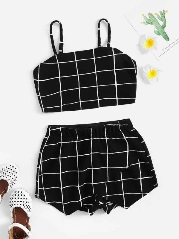 Girls Grid Crop Cami & Wrap Shorts Set