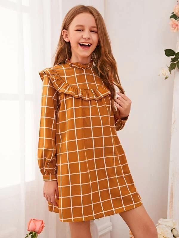 Girls Grid Frilled Neckline Ruffle Trim Tunic Dress