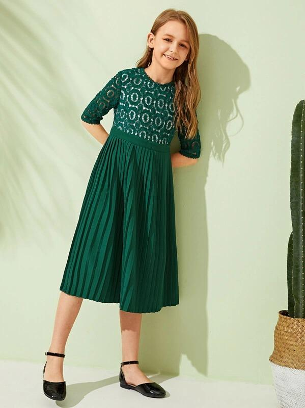 Girls Guipure Lace Pleated Hem Dress