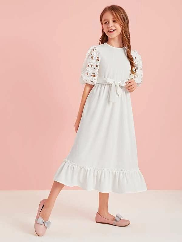 Girls Guipure Lace Puff Sleeve Self Belted Dress
