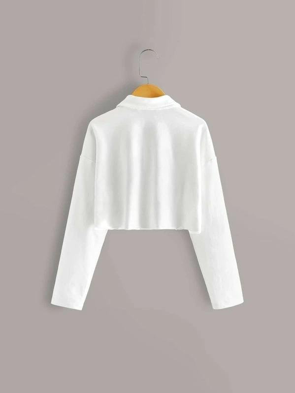 Girls Half Button Front Drop Shoulder Crop Sweatshirt