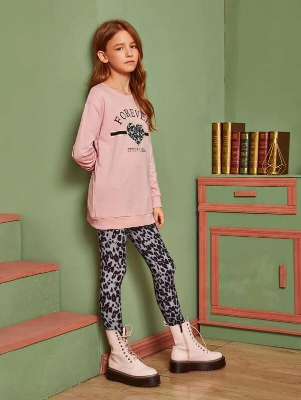 Girls Heart And Slogan Graphic Pullover & Leopard Leggings Set