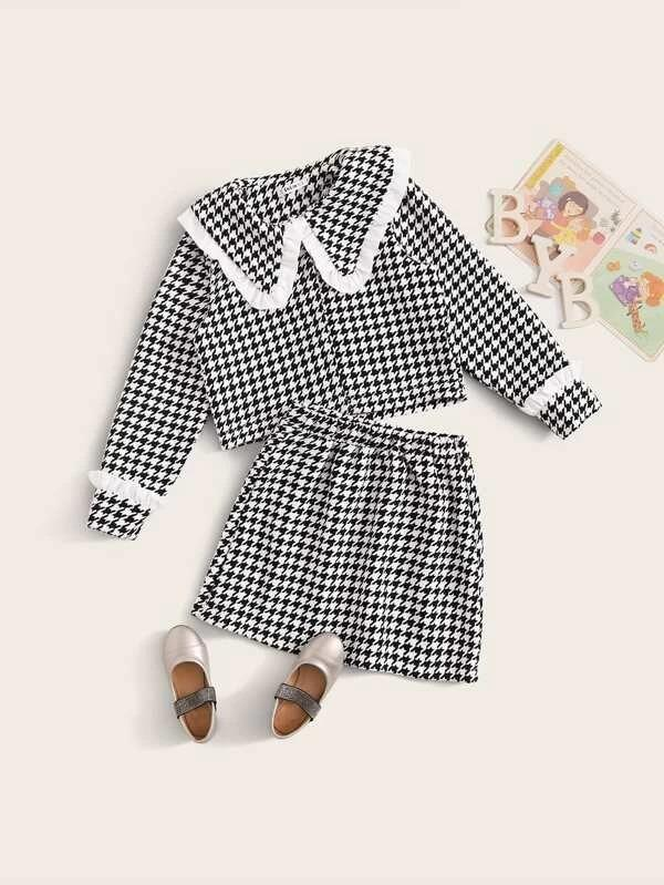 Girls Houndstooth Print Frill Detail Top & Skirt Set
