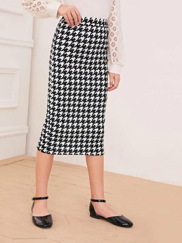 Girls Houndstooth Split Back Pencil Skirt