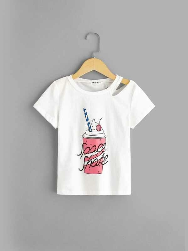Girls Ice Cream Print Cut-Out Tee