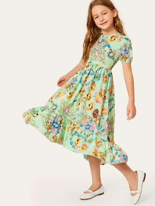 Girls Jewelry Print Fit & Flare Dress
