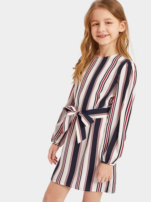 Girls Keyhole Back Belted Striped Dress