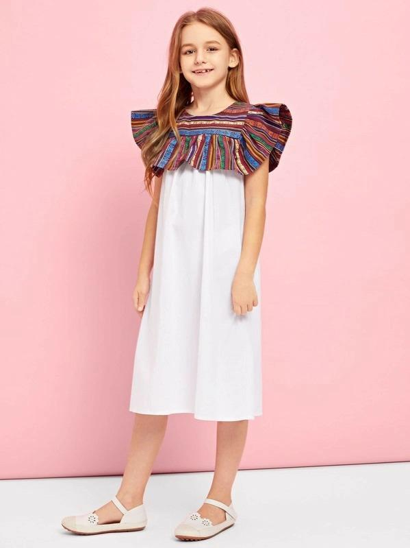 Girls Keyhole Back Contrast Dress