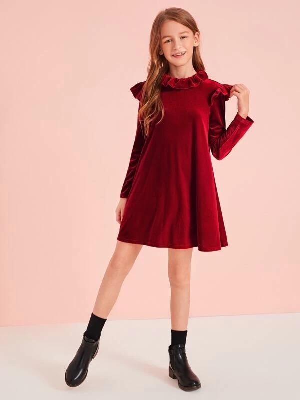 Girls Keyhole Back Ruffle Detail Velvet Dress